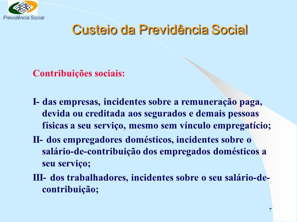 7 Custeio da Previdência Social Custeio da Previdência Social Contribuições sociais: I- das empresas, incidentes sobre a remuneração paga, devida ou c
