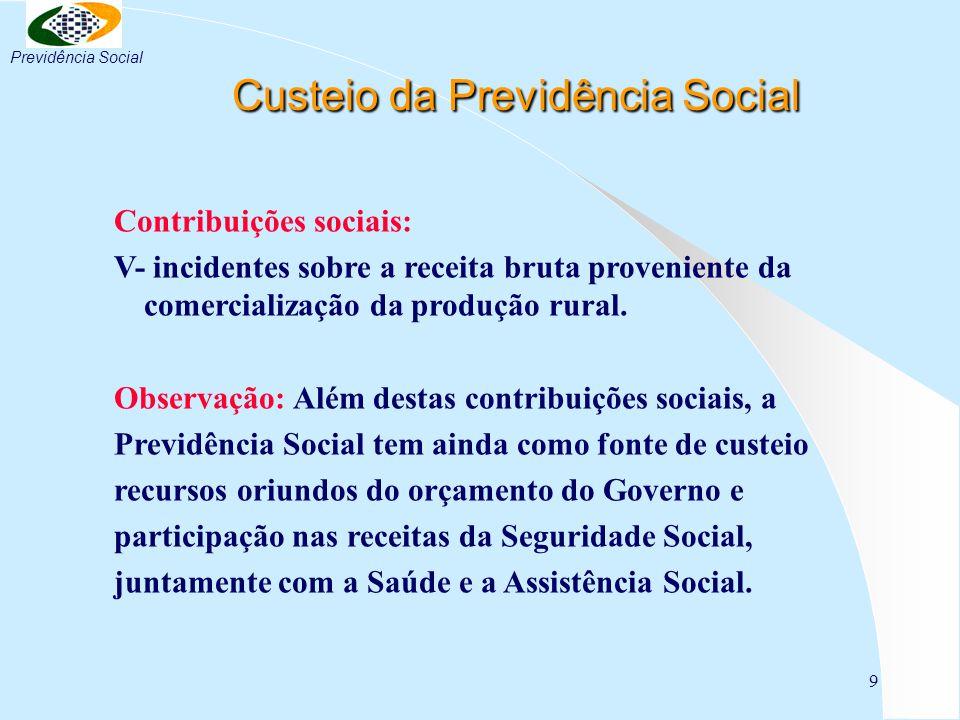 9 Custeio da Previdência Social Custeio da Previdência Social Contribuições sociais: V- incidentes sobre a receita bruta proveniente da comercializaçã