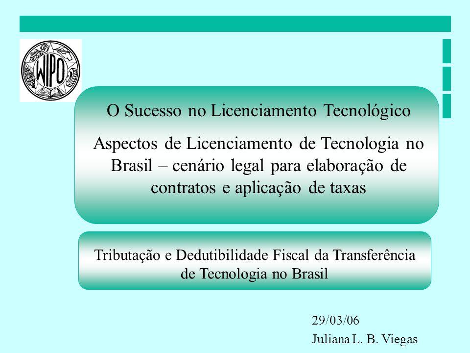 Tributação e Dedutibilidade Fiscal da Transferência de Tecnologia no Brasil O Sucesso no Licenciamento Tecnológico Aspectos de Licenciamento de Tecnol