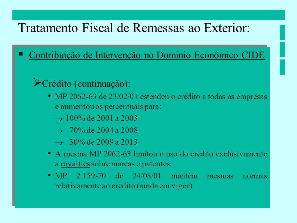 Contribuição de Intervenção no Domínio Econômico CIDE Crédito (continuação): MP 2062-63 de 23/02/01 estendeu o crédito a todas as empresas e aumentou