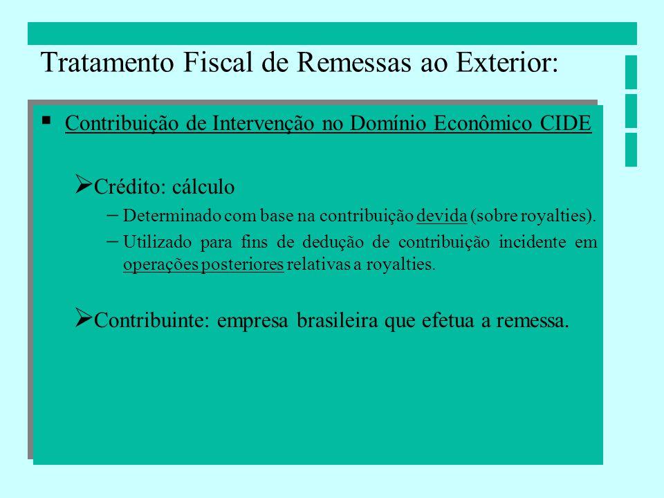 Contribuição de Intervenção no Domínio Econômico CIDE Crédito: cálculo Determinado com base na contribuição devida (sobre royalties). Utilizado para f