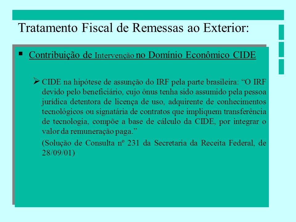 Contribuição de Intervenção no Domínio Econômico CIDE CIDE na hipótese de assunção do IRF pela parte brasileira: O IRF devido pelo beneficiário, cujo