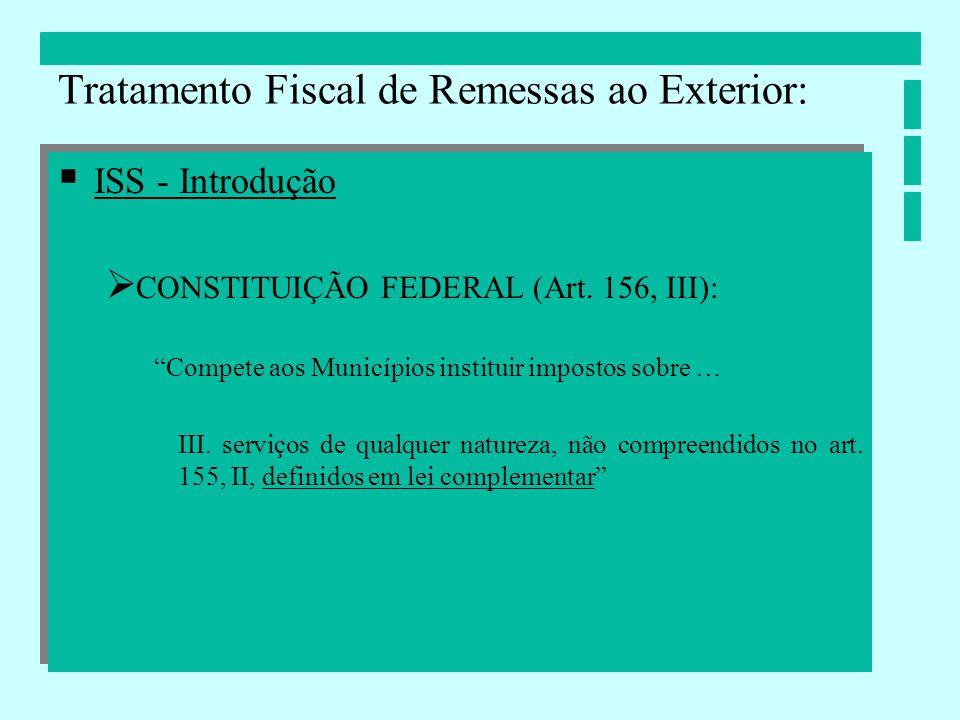 ISS - Introdução CONSTITUIÇÃO FEDERAL (Art. 156, III): Compete aos Municípios instituir impostos sobre … III. serviços de qualquer natureza, não compr