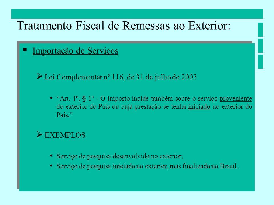 Importação de Serviços Lei Complementar nº 116, de 31 de julho de 2003 Art. 1º, § 1º - O imposto incide também sobre o serviço proveniente do exterior