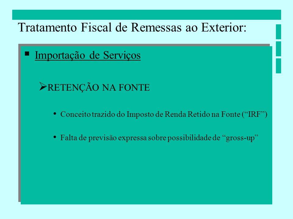 Importação de Serviços RETENÇÃO NA FONTE Conceito trazido do Imposto de Renda Retido na Fonte (IRF) Falta de previsão expressa sobre possibilidade de