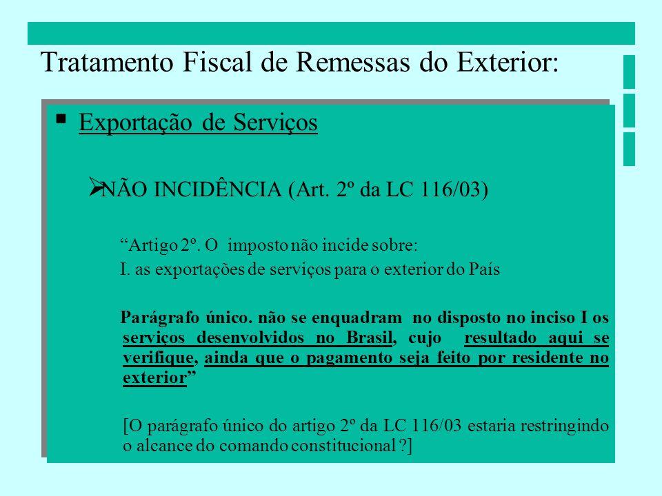 Exportação de Serviços NÃO INCIDÊNCIA (Art. 2º da LC 116/03) Artigo 2º. O imposto não incide sobre: I. as exportações de serviços para o exterior do P