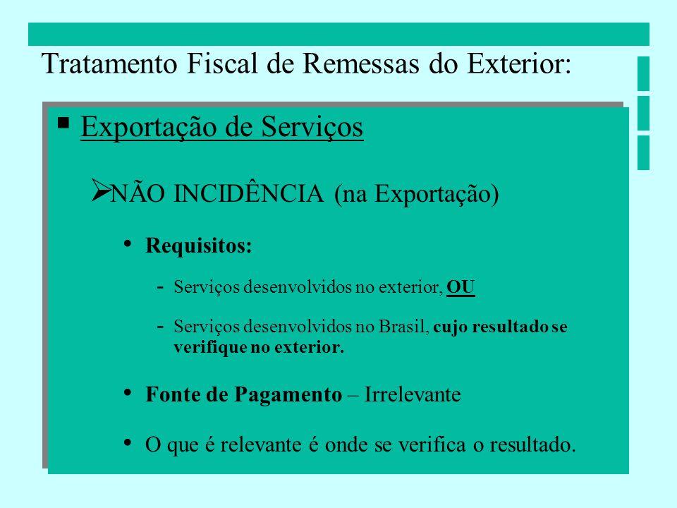 Exportação de Serviços NÃO INCIDÊNCIA (na Exportação) Requisitos: - Serviços desenvolvidos no exterior, OU - Serviços desenvolvidos no Brasil, cujo re