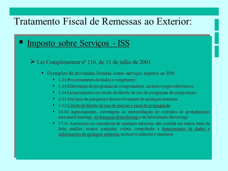 Imposto sobre Serviços - ISS Lei Complementar nº 116, de 31 de julho de 2003 Exemplos de atividades listadas como serviços sujeitos ao ISS: 1.03 Proce