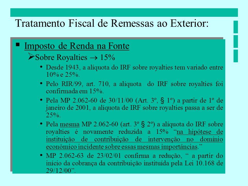Imposto de Renda na Fonte Sobre Royalties 15% Desde 1943, a alíquota do IRF sobre royalties tem variado entre 10% e 25%. Pelo RIR/99, art. 710, a alíq