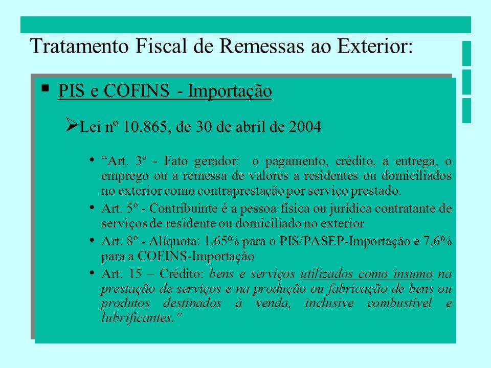 PIS e COFINS - Importação Lei nº 10.865, de 30 de abril de 2004 Art. 3º - Fato gerador: o pagamento, crédito, a entrega, o emprego ou a remessa de val