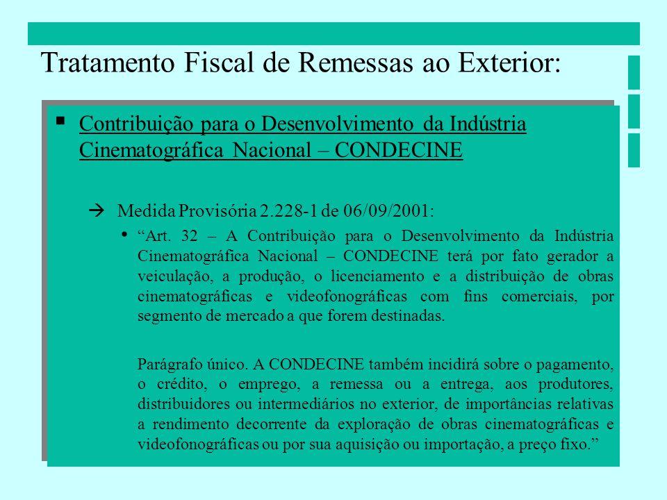 Contribuição para o Desenvolvimento da Indústria Cinematográfica Nacional – CONDECINE Medida Provisória 2.228-1 de 06/09/2001: Art. 32 – A Contribuiçã