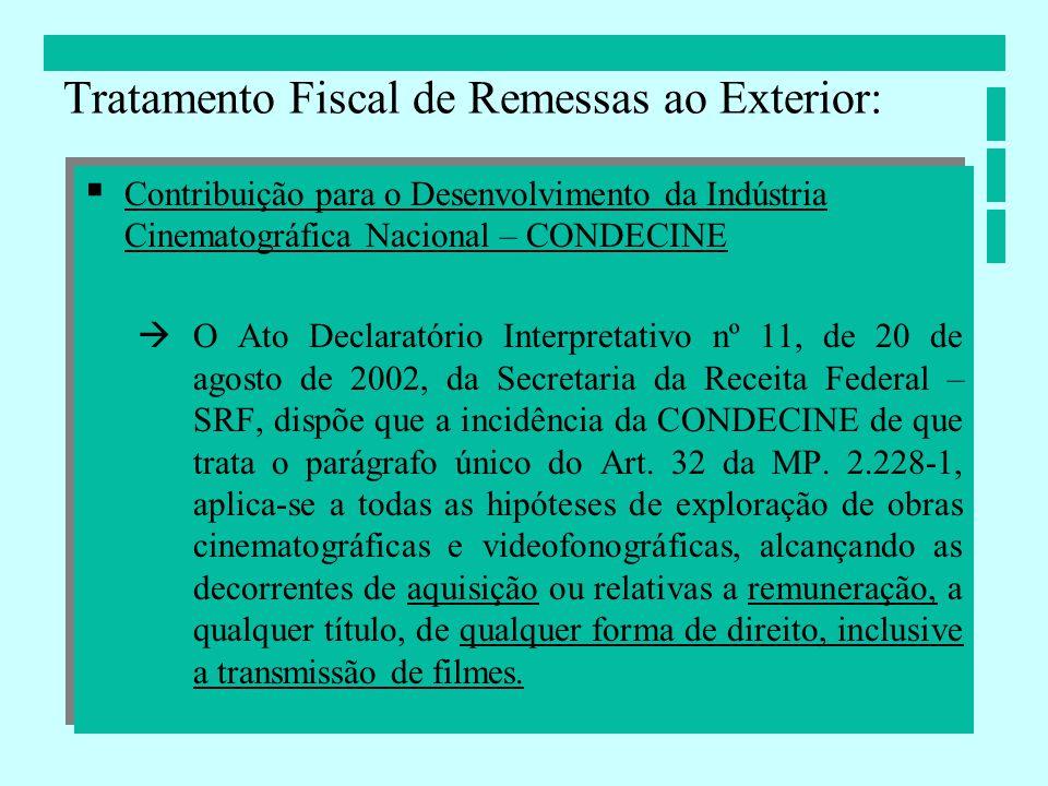 Contribuição para o Desenvolvimento da Indústria Cinematográfica Nacional – CONDECINE O Ato Declaratório Interpretativo nº 11, de 20 de agosto de 2002