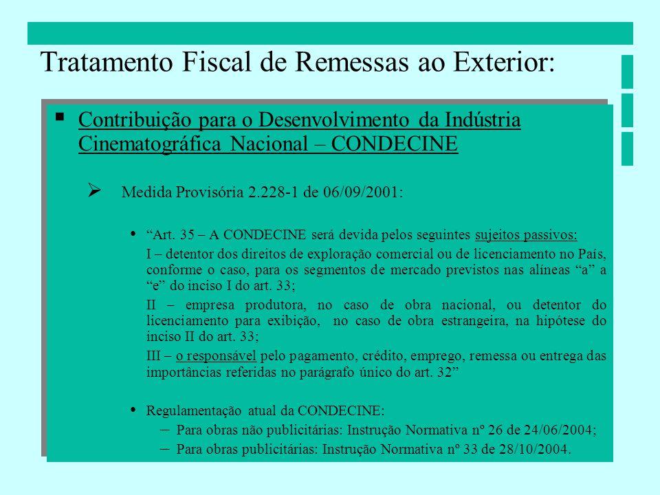 Contribuição para o Desenvolvimento da Indústria Cinematográfica Nacional – CONDECINE Medida Provisória 2.228-1 de 06/09/2001: Art. 35 – A CONDECINE s