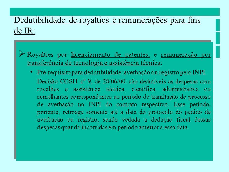 Royalties por licenciamento de patentes, e remuneração por transferência de tecnologia e assistência técnica: Pré-requisito para dedutibilidade: averb