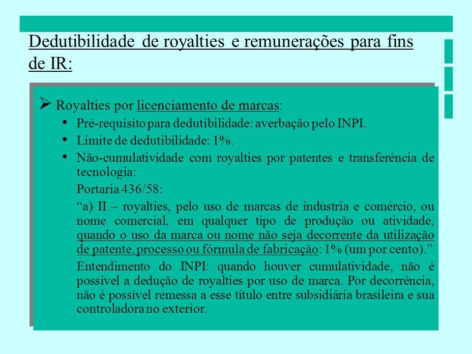 Royalties por licenciamento de marcas: Pré-requisito para dedutibilidade: averbação pelo INPI. Limite de dedutibilidade: 1%. Não-cumulatividade com ro