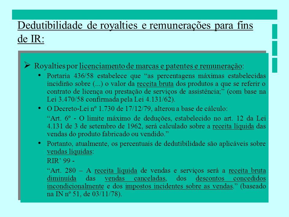 Royalties por licenciamento de marcas e patentes e remuneração: Portaria 436/58 estabelece que as percentagens máximas estabelecidas incidirão sobre (