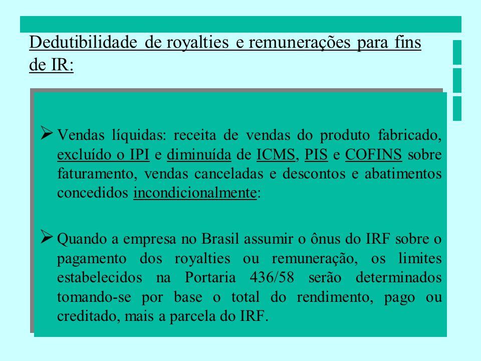 Vendas líquidas: receita de vendas do produto fabricado, excluído o IPI e diminuída de ICMS, PIS e COFINS sobre faturamento, vendas canceladas e desco