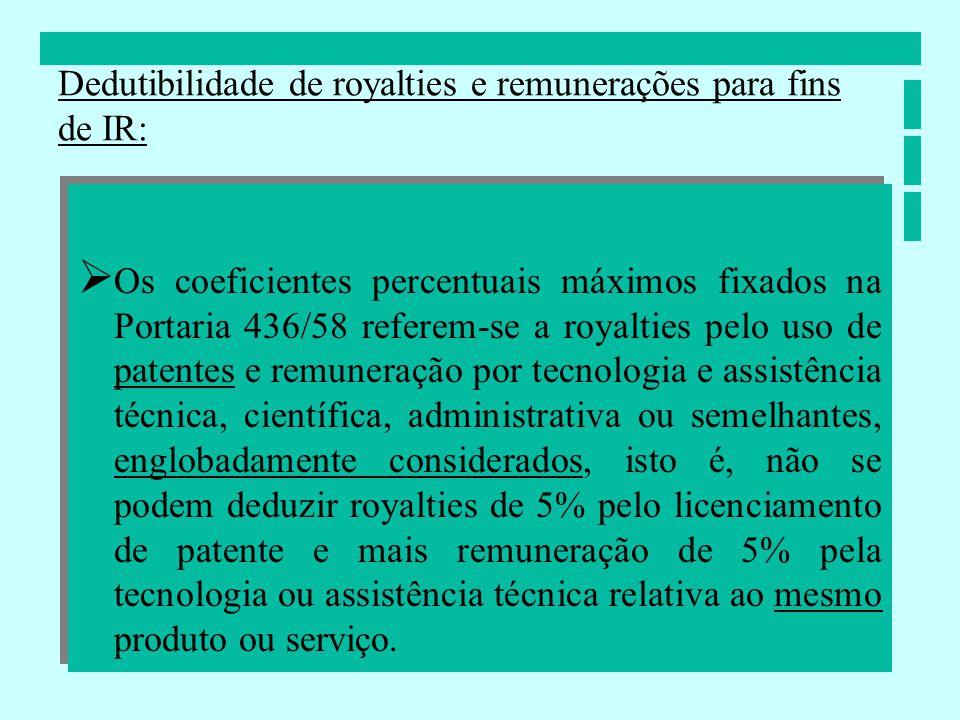 Os coeficientes percentuais máximos fixados na Portaria 436/58 referem-se a royalties pelo uso de patentes e remuneração por tecnologia e assistência
