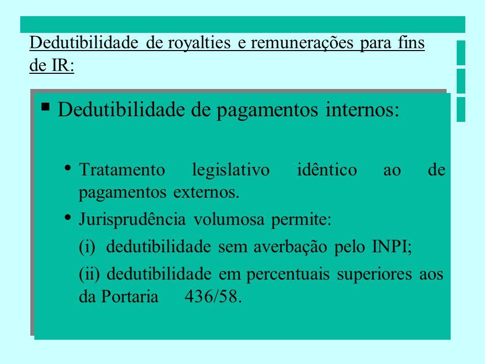 Dedutibilidade de pagamentos internos: Tratamento legislativo idêntico ao de pagamentos externos. Jurisprudência volumosa permite: (i) dedutibilidade