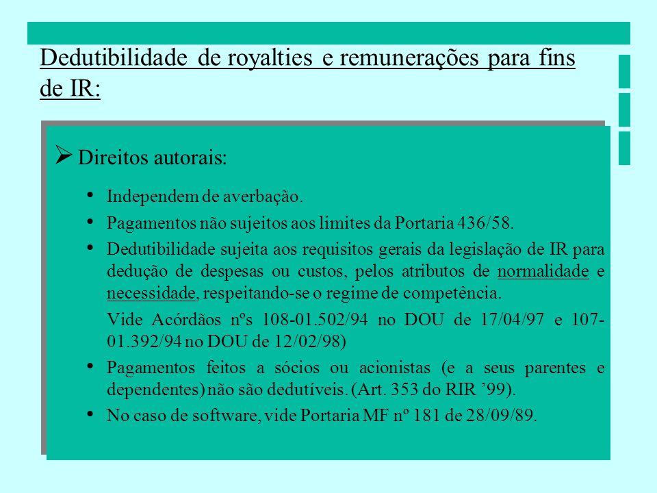 Direitos autorais: Independem de averbação. Pagamentos não sujeitos aos limites da Portaria 436/58. Dedutibilidade sujeita aos requisitos gerais da le