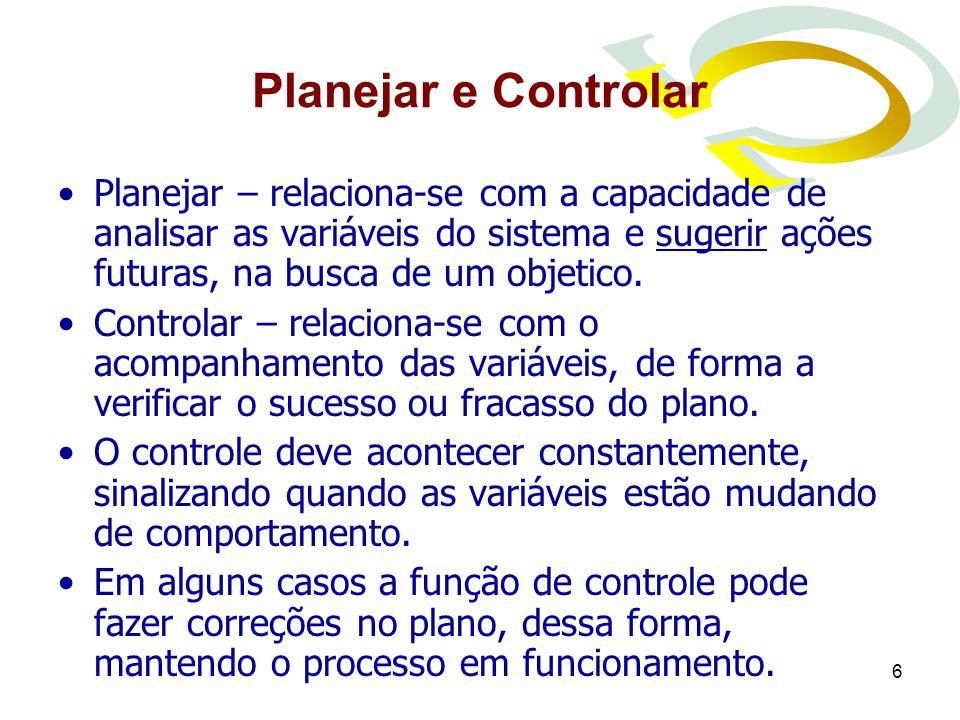 6 Planejar e Controlar Planejar – relaciona-se com a capacidade de analisar as variáveis do sistema e sugerir ações futuras, na busca de um objetico.