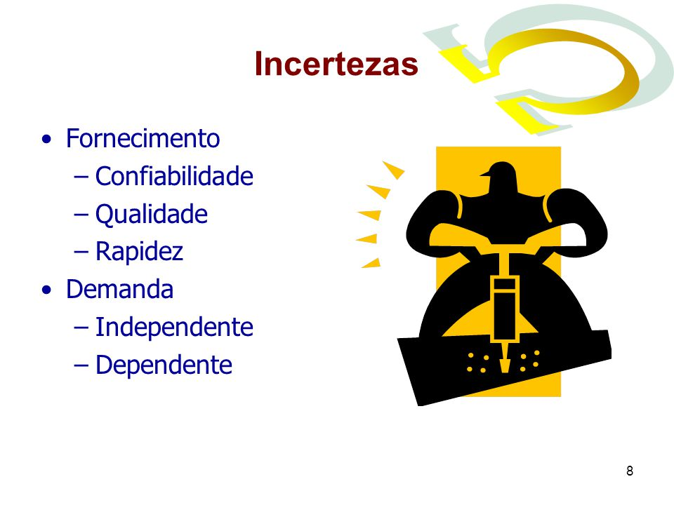 8 Incertezas Fornecimento –Confiabilidade –Qualidade –Rapidez Demanda –Independente –Dependente