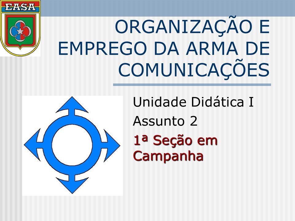 ORGANIZAÇÃO E EMPREGO DA ARMA DE COMUNICAÇÕES Unidade Didática I Assunto 2 1ª Seção em Campanha
