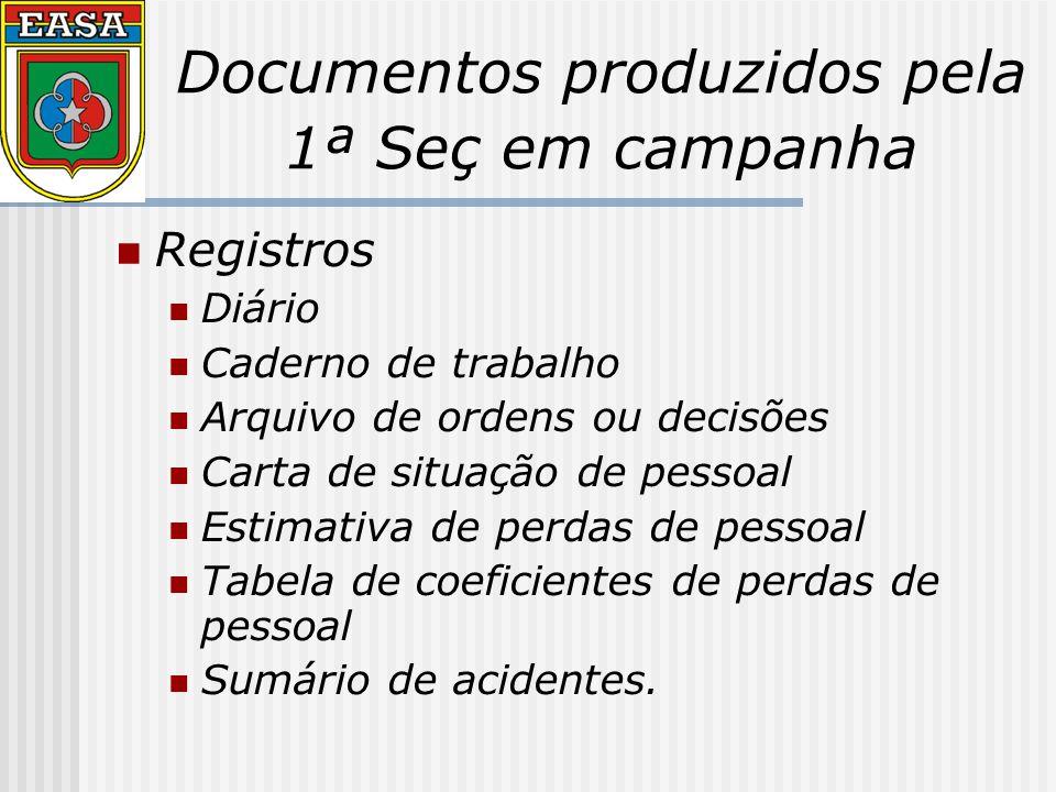 Documentos produzidos pela 1ª Seç em campanha Registros Diário Caderno de trabalho Arquivo de ordens ou decisões Carta de situação de pessoal Estimativa de perdas de pessoal Tabela de coeficientes de perdas de pessoal Sumário de acidentes.