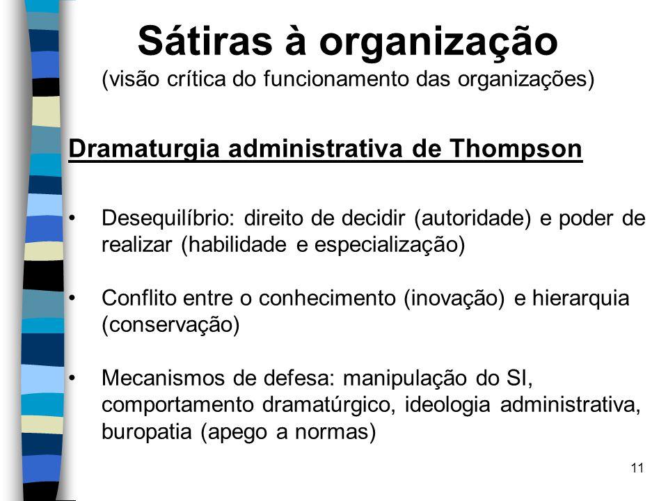 11 Sátiras à organização (visão crítica do funcionamento das organizações) Dramaturgia administrativa de Thompson Desequilíbrio: direito de decidir (a