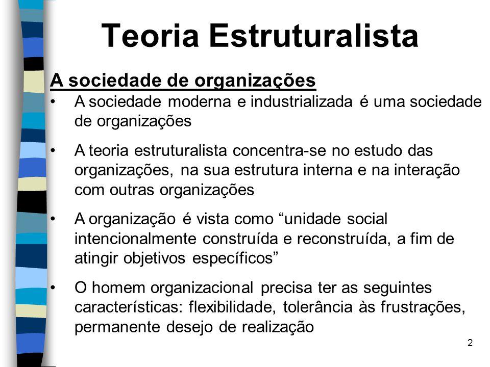 2 Teoria Estruturalista A sociedade de organizações A sociedade moderna e industrializada é uma sociedade de organizações A teoria estruturalista conc