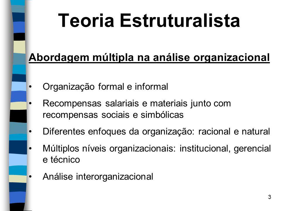 3 Teoria Estruturalista Abordagem múltipla na análise organizacional Organização formal e informal Recompensas salariais e materiais junto com recompe
