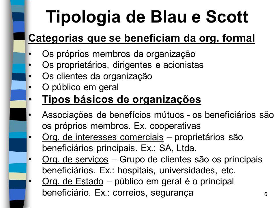 6 Tipologia de Blau e Scott Categorias que se beneficiam da org. formal Os próprios membros da organização Os proprietários, dirigentes e acionistas O