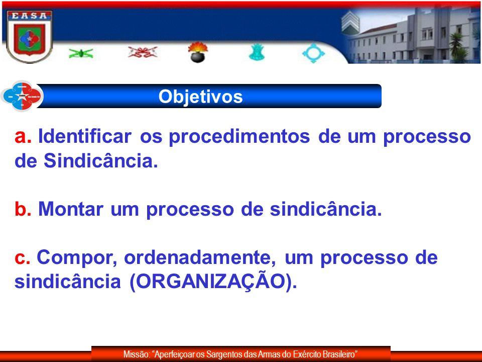 Missão: Aperfeiçoar os Sargentos das Armas do Exército Brasileiro - requerer o que entender necessário ao exercício de seu direito; - constituir advogado, que poderá presenciar os atos de inquirição (cabe também ao sindicado).