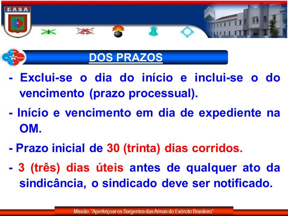 Missão: Aperfeiçoar os Sargentos das Armas do Exército Brasileiro DOS PRAZOS - Prorrogação mediante pedido do sindicante: 48 (quarenta e oito) horas - Prorrogação: 20 (vinte) dias corridos, podendo haver outras.