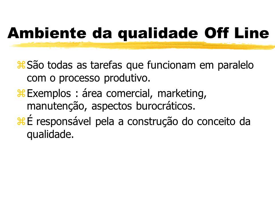 Ambiente da qualidade Off Line zSão todas as tarefas que funcionam em paralelo com o processo produtivo. zExemplos : área comercial, marketing, manute