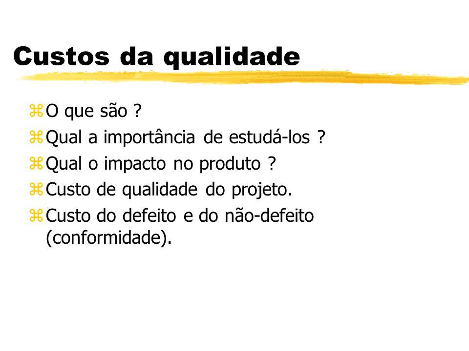 Custos da qualidade zO que são ? zQual a importância de estudá-los ? zQual o impacto no produto ? zCusto de qualidade do projeto. zCusto do defeito e