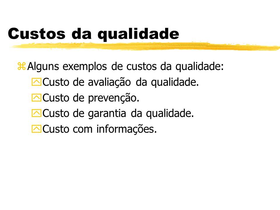 Custos da qualidade zAlguns exemplos de custos da qualidade: yCusto de avaliação da qualidade. yCusto de prevenção. yCusto de garantia da qualidade. y