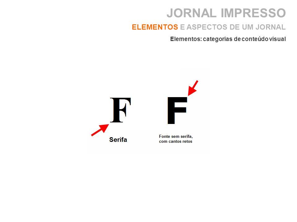 ELEMENTOS E ASPECTOS DE UM JORNAL Elementos: categorias de conteúdo visual JORNAL IMPRESSO