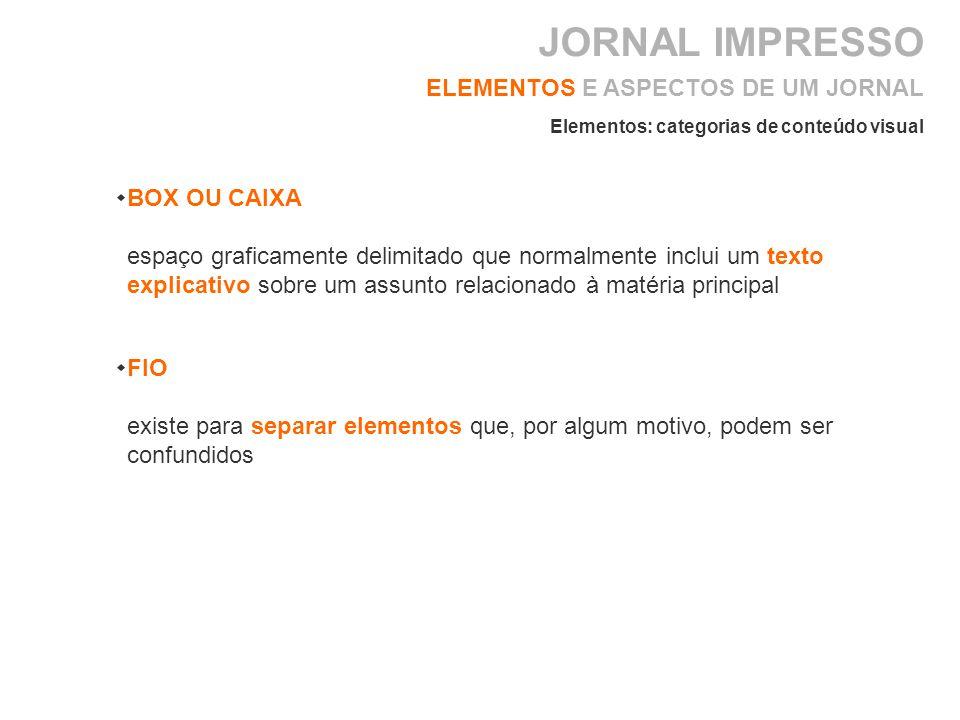 BOX OU CAIXA espaço graficamente delimitado que normalmente inclui um texto explicativo sobre um assunto relacionado à matéria principal ELEMENTOS E ASPECTOS DE UM JORNAL Elementos: categorias de conteúdo visual FIO existe para separar elementos que, por algum motivo, podem ser confundidos JORNAL IMPRESSO