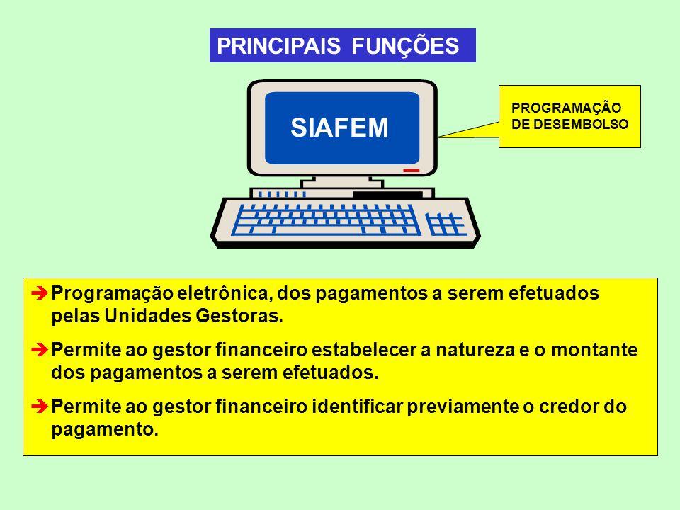 SIAFEM PROGRAMAÇÃO DE DESEMBOLSO Programação eletrônica, dos pagamentos a serem efetuados pelas Unidades Gestoras. Permite ao gestor financeiro estabe