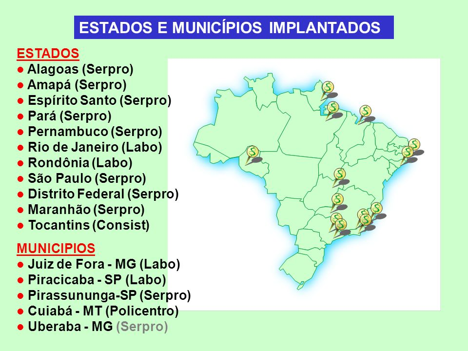 ESTADOS Alagoas (Serpro) Amapá (Serpro) Espírito Santo (Serpro) Pará (Serpro) Pernambuco (Serpro) Rio de Janeiro (Labo) Rondônia (Labo) São Paulo (Ser