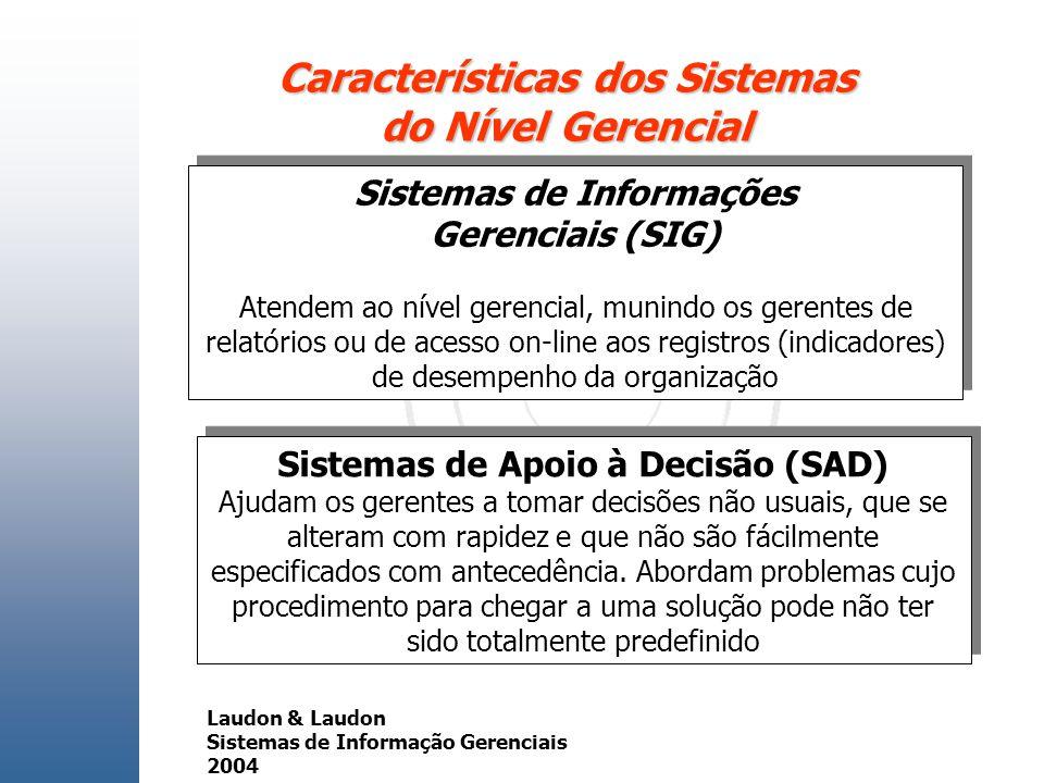Características dos Sistemas do Nível Gerencial Sistemas de Informações Gerenciais (SIG) Atendem ao nível gerencial, munindo os gerentes de relatórios