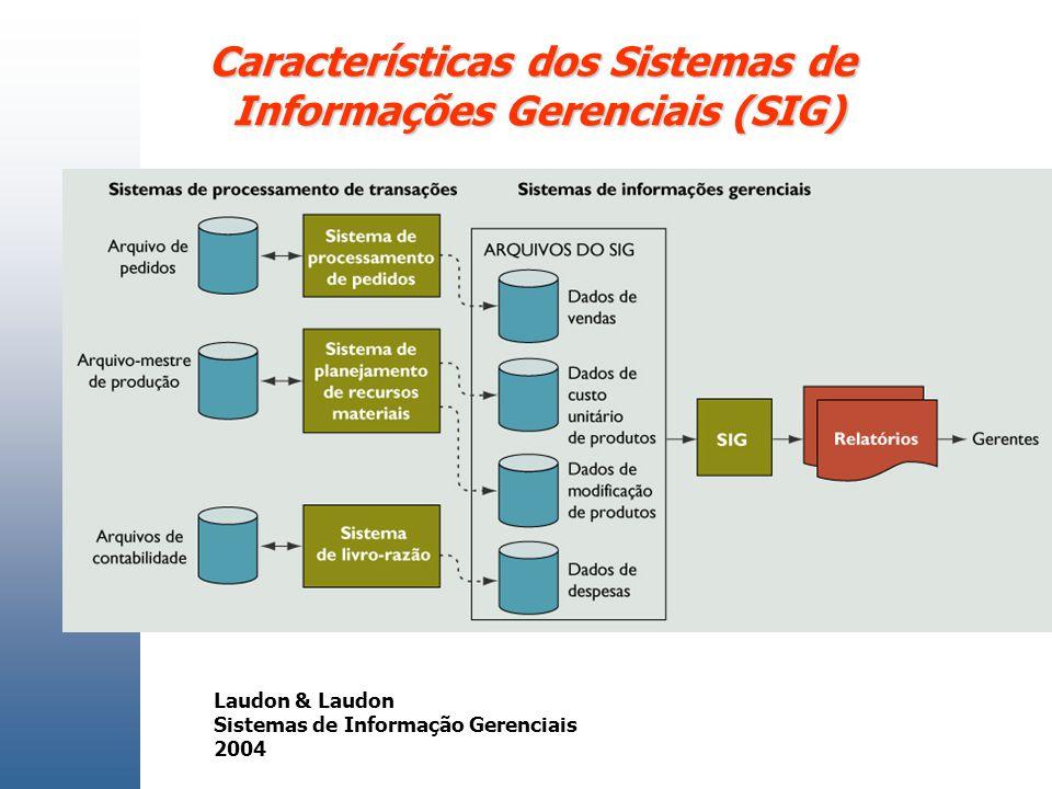 Características dos Sistemas de Informações Gerenciais (SIG) Laudon & Laudon Sistemas de Informação Gerenciais 2004