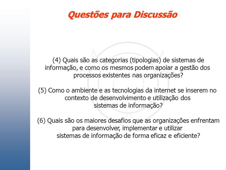Questões para Discussão (4) Quais são as categorias (tipologias) de sistemas de informação, e como os mesmos podem apoiar a gestão dos processos exist