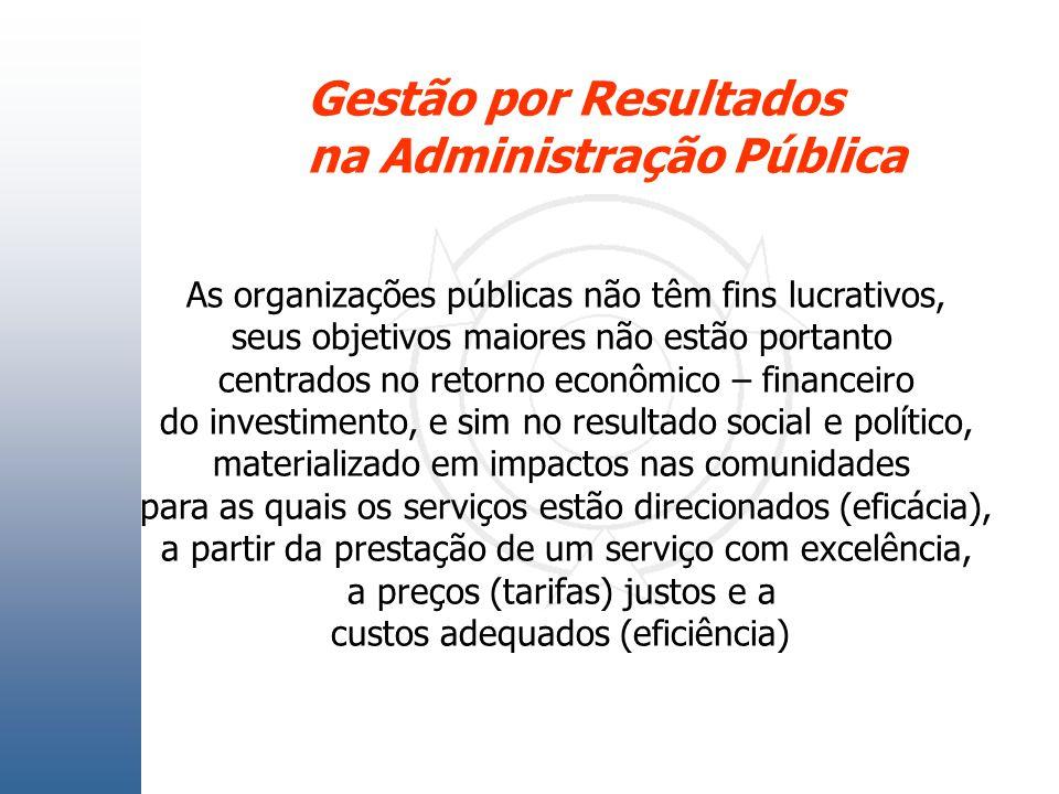 Gestão por Resultados na Administração Pública As organizações públicas não têm fins lucrativos, seus objetivos maiores não estão portanto centrados n