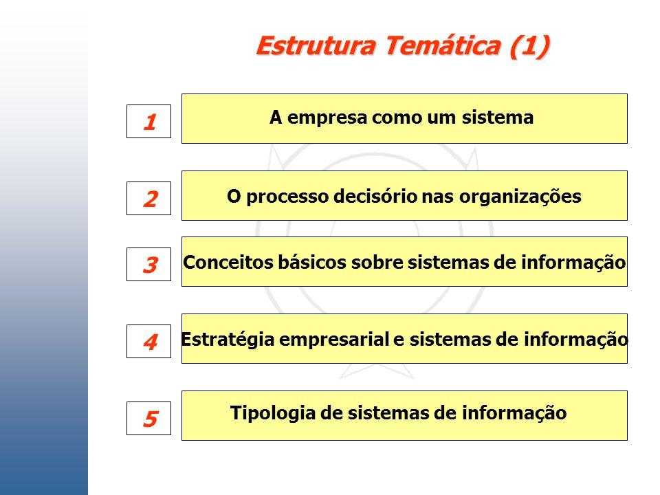 Estrutura Temática (1) O processo decisório nas organizações Conceitos básicos sobre sistemas de informação Estratégia empresarial e sistemas de infor