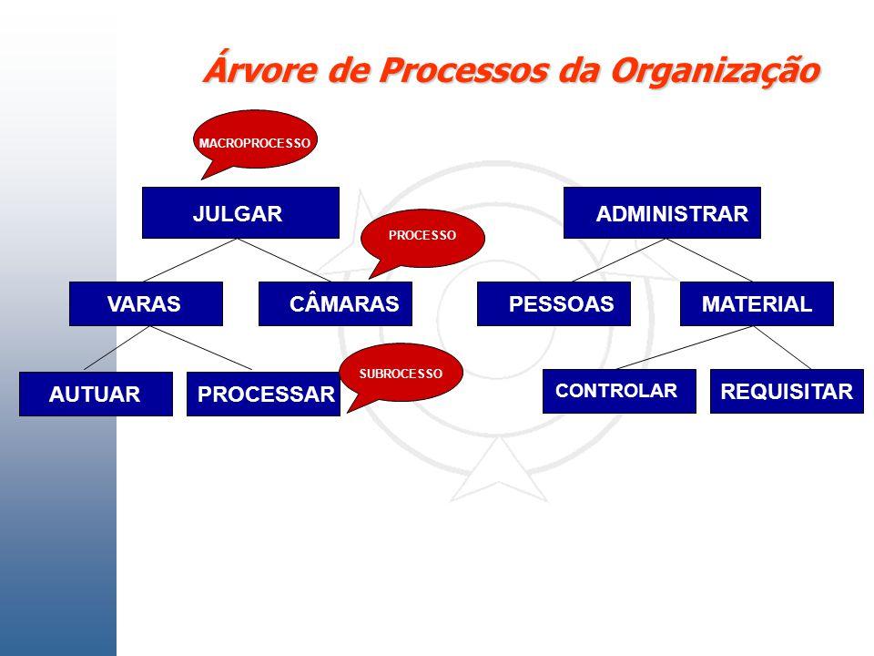 Árvore de Processos da Organização JULGAR VARASCÂMARAS ADMINISTRAR PESSOASMATERIAL AUTUARPROCESSAR CONTROLAR REQUISITAR MACROPROCESSO PROCESSO SUBROCE
