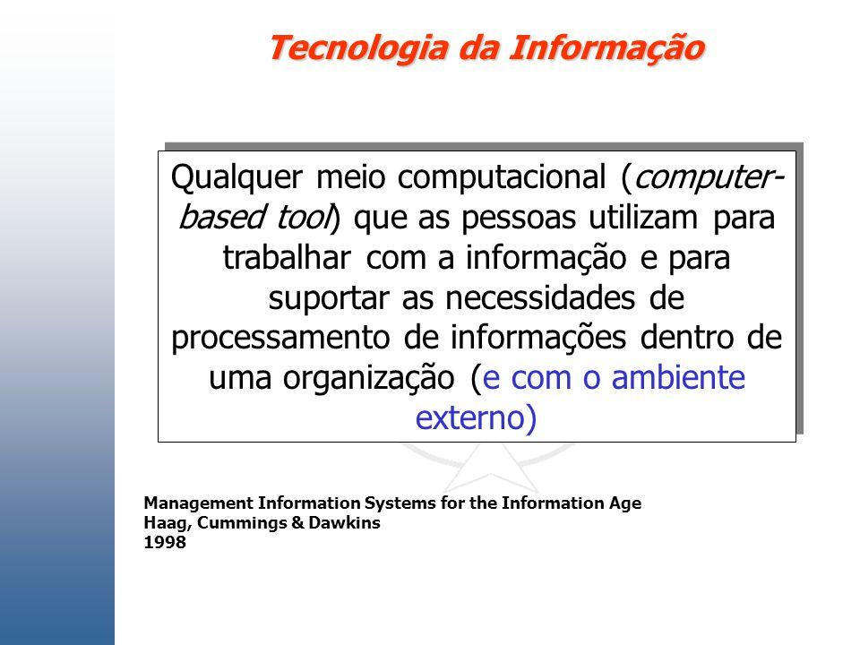 Tecnologia da Informação Qualquer meio computacional (computer- based tool) que as pessoas utilizam para trabalhar com a informação e para suportar as