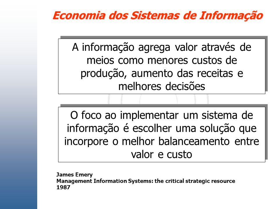 Economia dos Sistemas de Informação A informação agrega valor através de meios como menores custos de produção, aumento das receitas e melhores decisõ