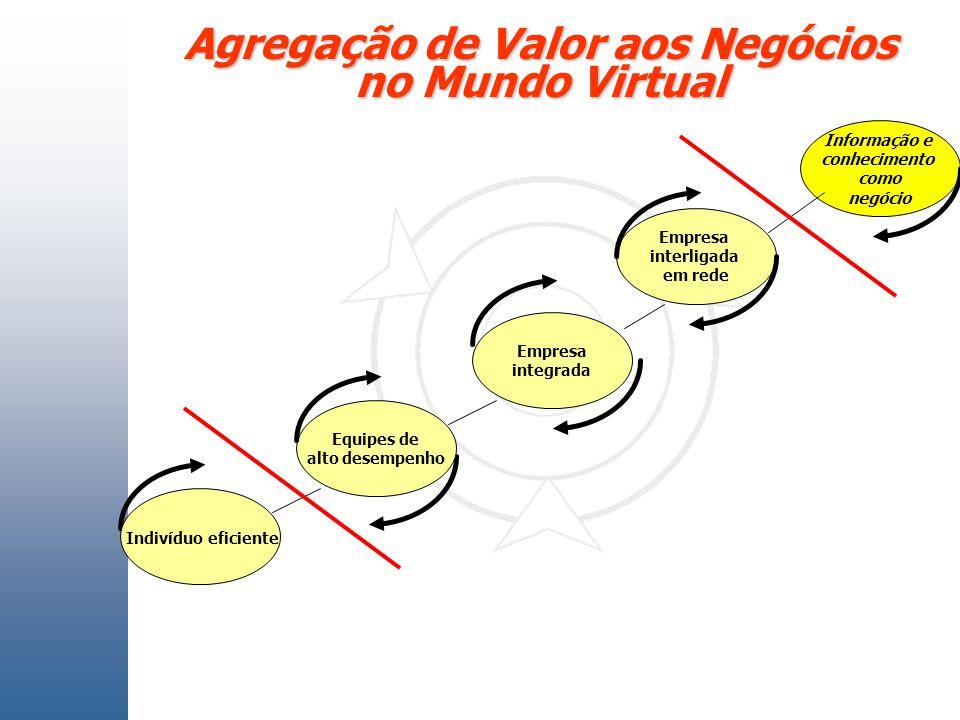 Agregação de Valor aos Negócios no Mundo Virtual Indivíduo eficiente Empresa integrada Empresa interligada em rede Equipes de alto desempenho Informaç